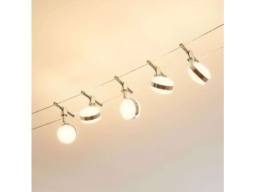 Lampes LED sur câble Ksenija, chromées, 5 lampes– LAMPENWELT.com