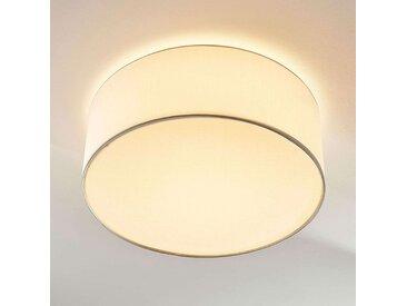 Plafonnier LED en tissu rond Lukas blanc– LAMPENWELT.com