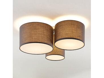 Lindby Laurenz plafonnier, 3 lampes, gris