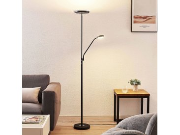 Lindby Sumani lampadaire LED, rond, noir