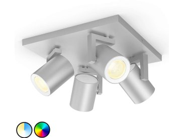 Philips Hue Argenta spot LED à 4 lampes aluminium