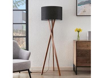 Lucande Auriane lampadaire trépied, tissu noir