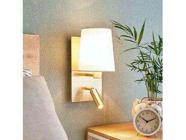 Applique Aiden à liseuse LED, blanche, laiton– LAMPENWELT.com