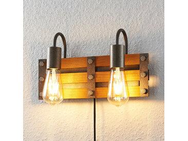 Lindby Jamina applique en bois à 2 lampes