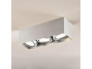 Downlight LED Rosalie à 3 lampes, angulaire, alu