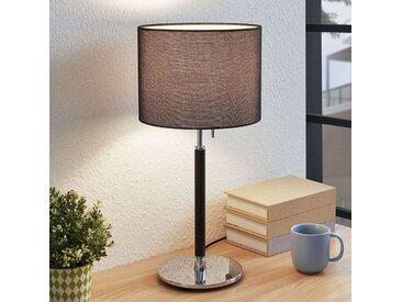 Lampe à poser en tissu Franjo en noir– LAMPENWELT.com