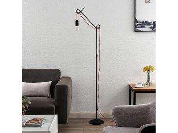 Lucande Jorna lampadaire en noir, câble rouge