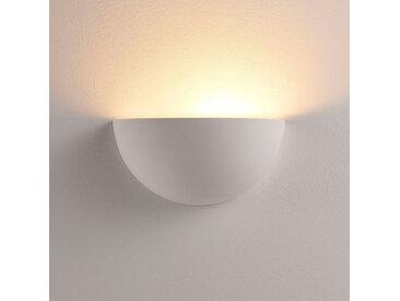 Applique LED semi-arrondie Narin en plâtre blanc