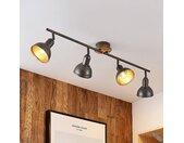 Lindby Nesrin plafonnier disque bois, 4 lampes