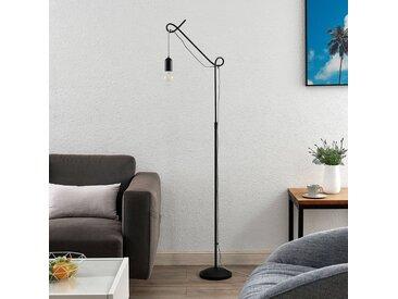 Lucande Jorna lampadaire en noir, câble gris