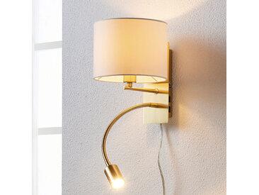 Applique laiton ancien Florens avec liseuse LED