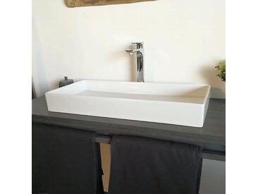 Vasque à poser rectangulaire en céramique 75 cm - Cleva