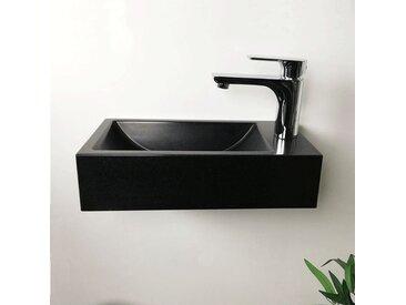 Lave-mains suspendu Noir 40 cm en Pierre de synthèse - Telma D