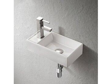 Lave-mains suspendu en céramique blanche - Manéo G
