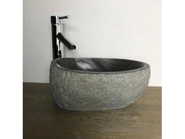 Vasque à poser 30 cm, lave-mains en pierre de rivière, Galéo