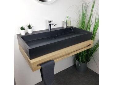 Vasque à poser Noir 90 cm en Pierre de synthèse - Amelya
