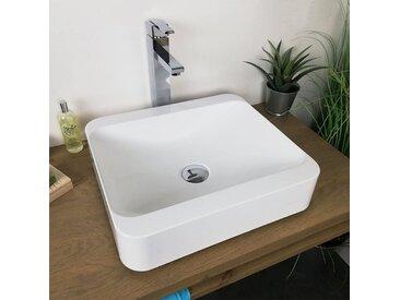 Vasque à poser 45 cm en Pierre de synthèse finition mat - Hanaé