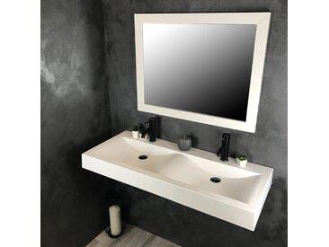 Double vasque à poser ou à suspendre 120 cm en Pierre de synthèse - Eva