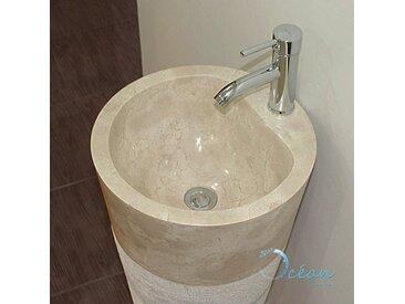 Vasque sur pied , colonne en marbre crème - Sola