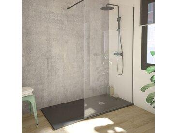 Paroi de douche fixe SINGLE BLACK noir en verre trempé 8 mm