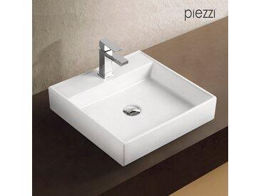 Vasque carrée en céramique blanche - Piazza