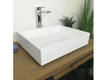 Vasque à poser 50 cm en Pierre de synthèse Blanc mat - Tessa