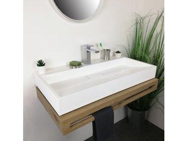 Vasque à poser 90 cm en Pierre de synthèse Blanc mat - Amelya