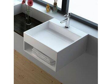 Vasque suspendue, vasque carrée en Solid surface 50 cm - Kora