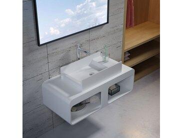 Plan de toilette avec vasque rectangulaire en solid surface SDK52 + SDV71