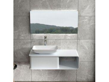 Plan de toilette avec vasque rectangulaire en solid surface SDVP6L