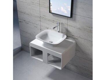 Plan de toilette avec vasque rectangulaire en solid surface SDK54 + SDV33
