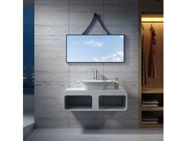 Plan de toilette avec vasque rectangulaire en solid surface SDK52 + SDV36