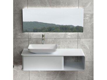 Plan de toilette suspendu avec vasque rectangulaire en solid surface SDVP7L
