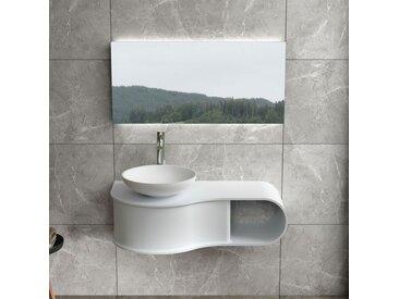 Plan de toilette vague avec vasque ronde en solid surface SDVP8L