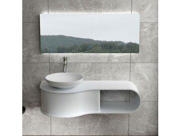 Plan de toilette vague avec vasque ronde en solid surface SDVP9L