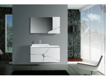 Meuble salle de bain simple vasque 100 cm, MEL BLANC