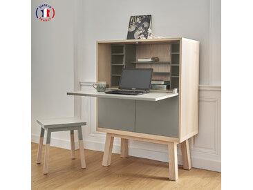 Bureau secrétaire avec rangement en frêne 90x46 cm  - 100% Fabrication Française