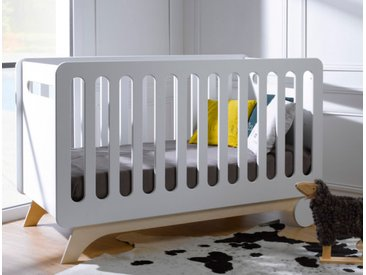 Lit bébé évolutif Bonheur Blanc & Bouleau 70x140 - chambrekids.com