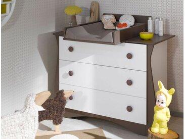 Commode bébé + plan à langer Doudou Blanc & Taupe - chambrekids.com