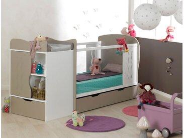 Lit bébé évolutif combiné Belem Lin & Blanc - chambrekids.com
