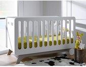 Lit bébé évolutif Bonheur Blanc & Lin 70 x 140 - chambrekids.com