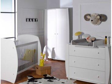 Chambre bébé complète lit 70x140 Médéa Blanc - chambrekids.com