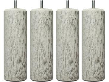 MRG - Jeu de pieds Cylindre Lounge H15cm D6.5cm blanc v-noir filetage 8mm
