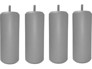 MRG - Jeu de pieds Cylindre Metaliz H17cm D7cm gris filetage 8mm