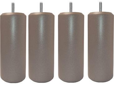 MRG - Jeu de pieds Cylindre Metaliz H17cm D7cm taupe filetage 8mm
