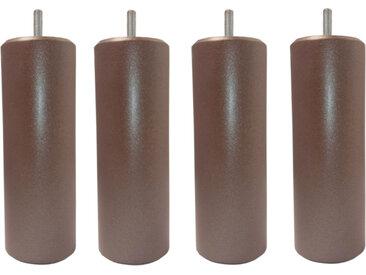 MRG - Jeu de pieds Cylindre Metaliz H17cm D7cm chocolat filetage 8mm