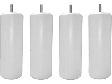 MRG - Jeu de pieds Cylindre Metaliz H17cm D7cm blanc filetage 8mm