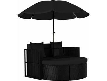 Lit de jardin avec parasol Résine tressée Noir