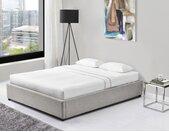 Cadre de lit coffre en tissu gris clair 140x190