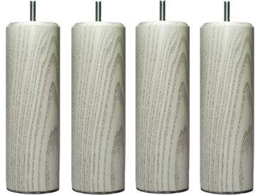 MRG - Jeu de pieds Cylindre Lounge H15cm D6.5cm blanc v-gris filetage 8mm